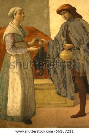Mural.Bottega of Domenico Ghirlandaio. XV century.Florence.