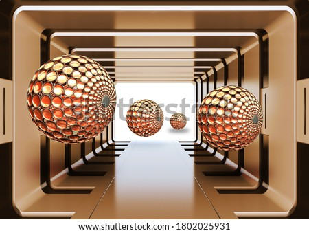 mural Illustration of 3D golden crystal ball sphere  on decorative background tunnel wallpaper. Graphical modern art