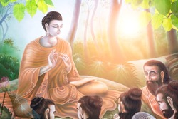 Mural paintings tell the story about the Buddha's history