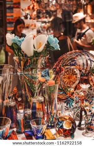 Murano glass art, Italy. Decorative art. Murano island. Glass toys