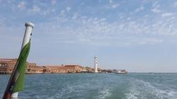Murano Island seen from boat, Venice, Italy