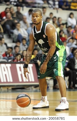 Murcia, Spain - November 2: MOmar Cook of Unicaja Malaga during the game against CB Murcia at Palacio de los Deportes on November 2, 2008 in Murcia, Spain
