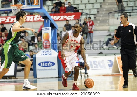 Murcia, Spain - November 2: Taquan Dean of CB Murcia during the game against Unicaja Malaga at Palacio de los Deportes on November 2, 2008 in Murcia, Spain