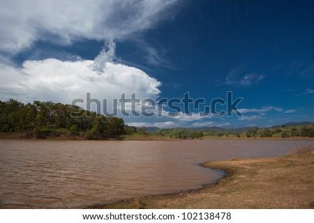 Murky lakes near Brisbane, after floods, Queensland, Australia
