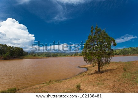 Murky lakes near Brisbane, after floods, Queensland, Australia