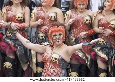 Muro de Alcoy, Spain - May 7, 2016: Christian legion (filaes) marching in Moors and Christian Fiesta parade commemorating reconquista combats. Muro de Alcoy, Alicante in Spain. - Shutterstock ID 417438682