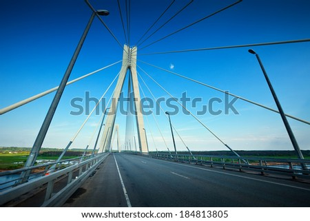 Murom bridge through Oka River, cable-stayed bridge length of about 1400 meters. Russia #184813805