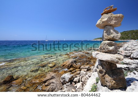 Murter island beach - Adriatic Sea. Croatia - beautiful Mediterranean coast landscape in Dalmatia.