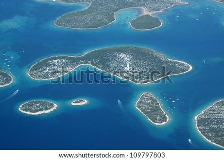 Murter islands in Croatia, Adriatic sea - aerial view