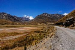 Mururahu snowpeak, at Huascaran National Park, Huaraz/Peru. Road to Pastoruri Glacier.