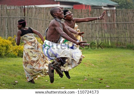 MUSANZE, RWANDA - JUNE 16: Tribal Dancers of the Batwa Tribe Perform Traditional Intore Dance to Celebrate the Birth of an Endangered Mountain Gorilla on June 16, 2012 in Musanze, Rwanda.