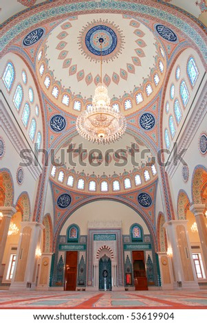 Muscat - Oman, Sultan Taymoor Mosque - Interior architecture