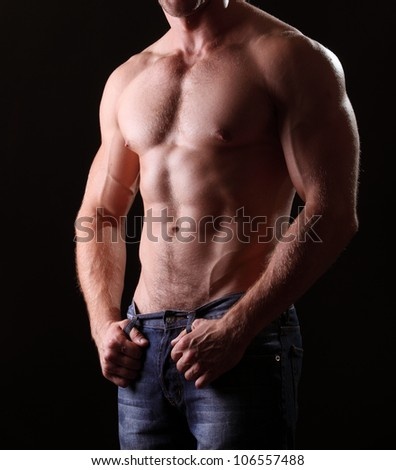 muscle  body on black background
