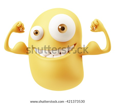 Muscle Fitness Emoticon Face. 3d Rendering.