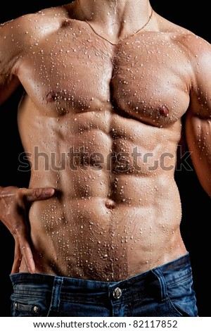 Muscle sexy young man torso perfused milk