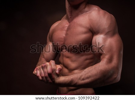 Muscled male hand with big biceps