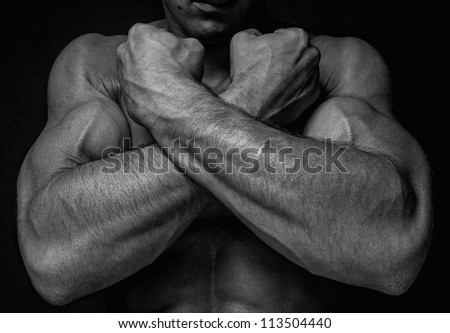 Muscled male hands