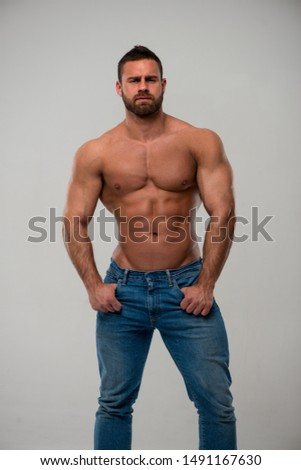 Muscled male model in studio
