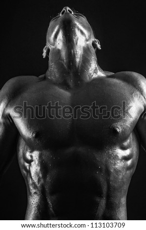 Muscled male model showing his neck