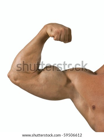 Muscled model posing.Isolated on white background
