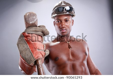 Muscular African American iron worker