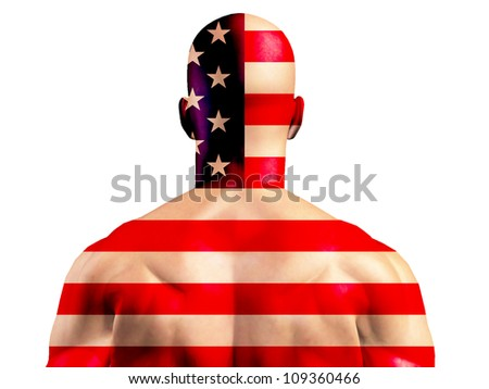 Muscular American Man Isolated on White