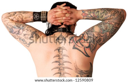Muscular back with tattoo isolated against white background