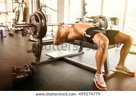 Muscular bodybuilder bench press workout #499274779