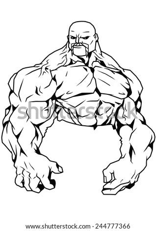 Muscular Bodybuilder Front Relaxedillustrationblack And White