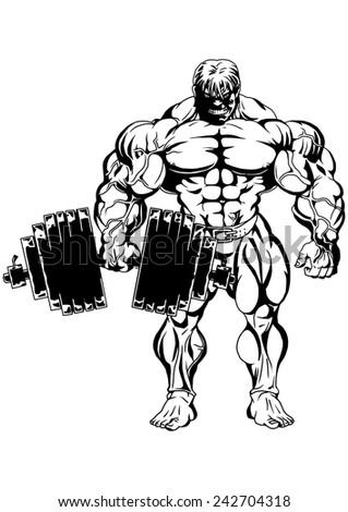 Muscular Bodybuilder Training With Heavy Dumbbellsillustration