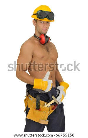 Muscular construction worker posing isolated in white