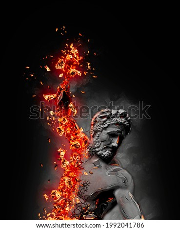 Muscular fiery arm, lava effect, lapilli and burning embers. Fury. Anger. Hercules. Mythological figure. Statue. 3d render   Сток-фото ©