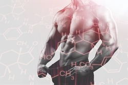 Muscular handsome male torso and testosterone formula. Concept of hormone increasing methods.