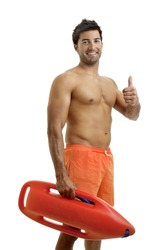 Muscular lifeguard isolated in white