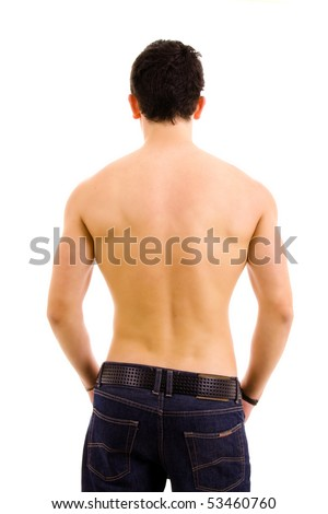 muscular male back on white background