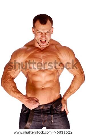 Muscular male  bodybuilder on white background
