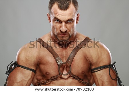 muscular male portrait of ancient warrior