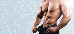 Muscular male torso and testosterone formula against background.