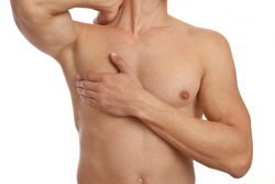 Muscular male torso, chest and armpit hair removal. Male Waxing. Male laser epilation.