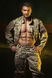 Muscular man come back from army