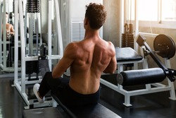 Muscular man doing exercise and pulling weights in seated cable row machine, Athlete makes exercise, Bodybuilder, Sport fitness and muscles concept