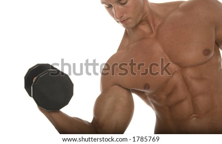 Muscular man pumping iron
