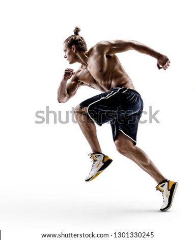 Muscular man runner in silhouette. Photo of shirtless muscular man isolated on white background. Dynamic movement. Side view. Full length