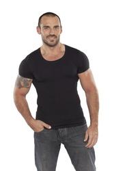muscular man wearing blank black shirt,