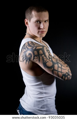 Muscular Sexy Man with tattoo