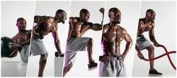Muscular young male athlete, creative collage with the different photos of one model. Fit man exercising at the gym. Concept of cross-fit, fitness, motion, sport, bodybuilding, weight loss.
