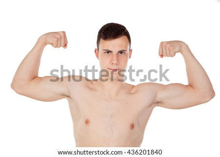 Thin and wiry guy with naked torso… Stock Photo 434571550