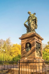 Muse of history Clio. Monument to the Russian historian of the eighteenth century Nikolai Karamzin