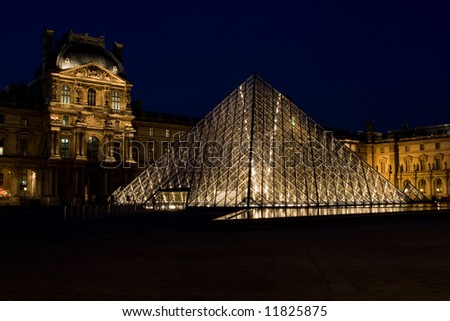 Musee du Louvre at night