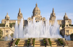 Museu Nacional d'Art de Catalunya and Magic Fountain, Barcelona, Spain